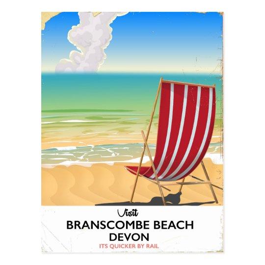 Branscombe Beach Devon vintage seaside poster Postcard