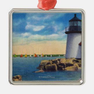 Brant Point Lighthouse Scene Christmas Ornament