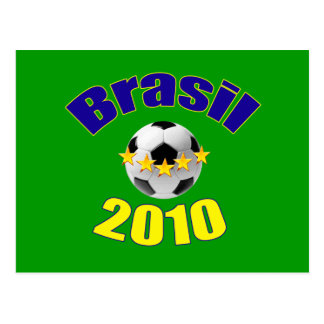 Brasil 2010 blue and Yellow logo soccer gear Post Card