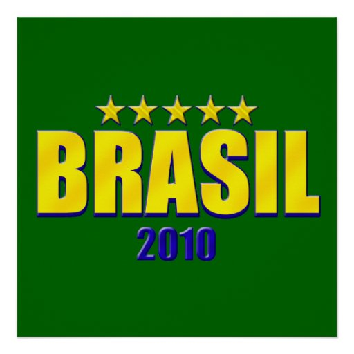 Brasil  2010 Canary soccer futebol logo gifts Print