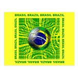 Brasil Brazil Soccer ball in the net artwork gifts Postcard