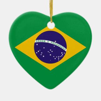 Brasil Flag Heart Christmas Ornament