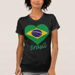Brasil Flag Heart Tee Shirts