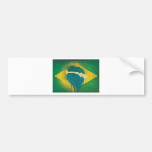 Brasil Flag Spray Paint Bumper Stickers