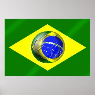 Brasil Futebol Bandeira soccer ball flag of Brazil Poster