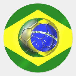 Brasil Futebol Bandeira soccer ball flag of Brazil Round Sticker