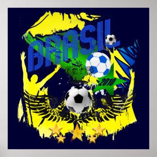 Brasil Grunge 2010 soccer lovers futbol gifts Poster