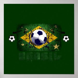 Brasil Grunge Soccer players Brazil Soccer gifts Print