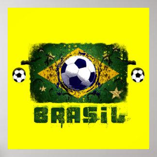 Brasil Grunge Soccer players Brazil Soccer gifts Poster