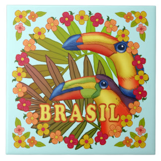 Brasil Toucans ceramic tile
