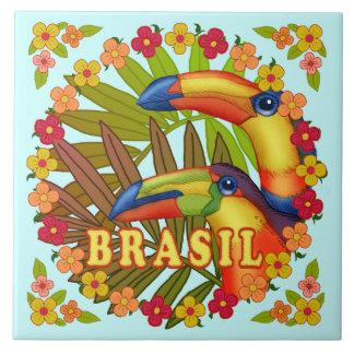 Brasil Toucans Large Square Tile