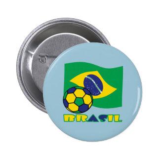 Brasileiro Futebol e Bandeira 6 Cm Round Badge