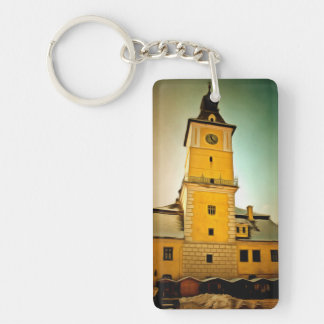 Brasov Council tower painting Double-Sided Rectangular Acrylic Key Ring
