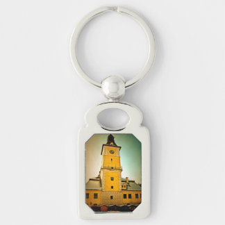 Brasov Council tower painting Silver-Colored Rectangle Key Ring