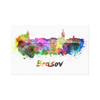 Brasov skyline in watercolor stretched canvas prints