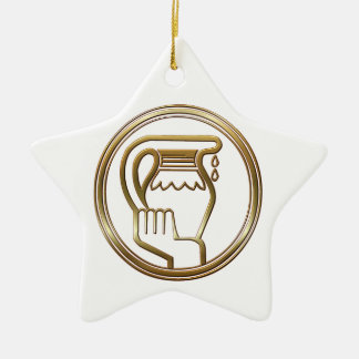 Brass and Copper Aquarius Zodiac Astrology Christmas Ornament