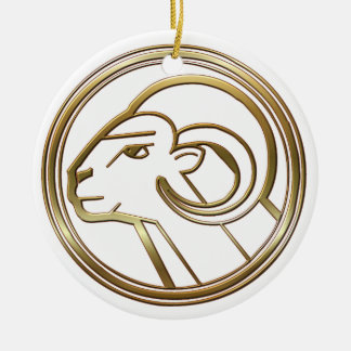 Brass and Copper Aries Zodiac Astrology Round Ceramic Decoration