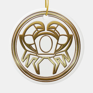 Brass and Copper Cancer Zodiac Astrology Christmas Tree Ornament