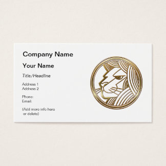 Brass and Copper Leo Zodiac Astrology Business Card