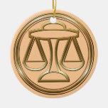 Brass and Copper Libra Ornament
