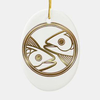 Brass and Copper Pisces Zodiac Astrology Christmas Ornament