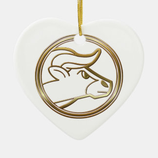 Brass and Copper Taurus Zodiac Astrology Christmas Ornament