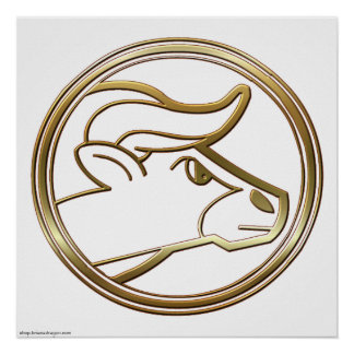 Brass and Copper Taurus Zodiac Astrology Poster