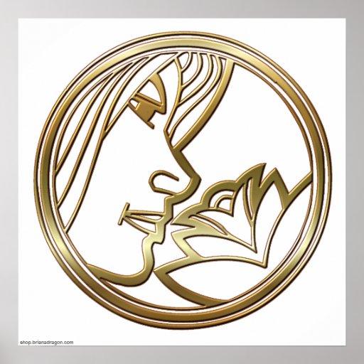 Brass and Copper Virgo Zodiac Astrology Print