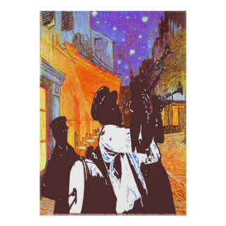Brass Band, Night Cafe Poster