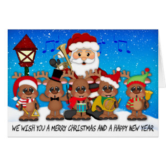 Brass Band Santa Christmas Greeting Card