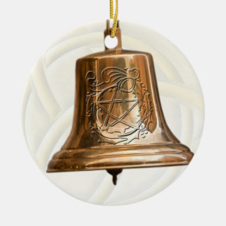 Brass Bell with Pentacle & Wreath Christmas Ornament