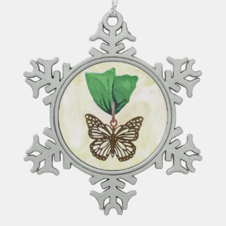 Brass Butterfly on Green Ribbon Pewter Snowflake Decoration