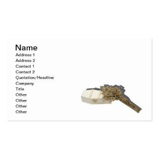 Brass Crucifix Wooden Coffin Pack Of Standard Business Cards