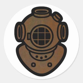 Brass Diving Helmet Round Sticker