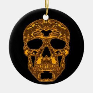 Brass Embossed Skull Ornament Black n White