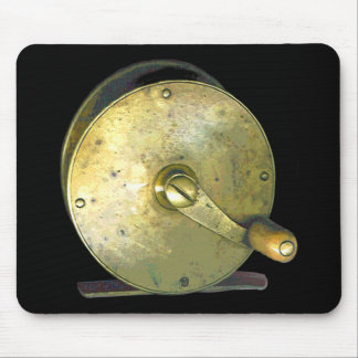 Brass Fishing Reel 1800 s Mousepad
