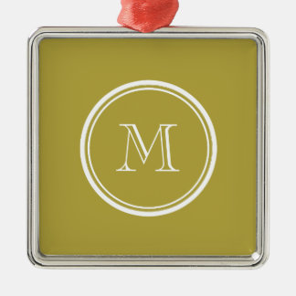 Brass High End Colored Monogrammed Christmas Ornament