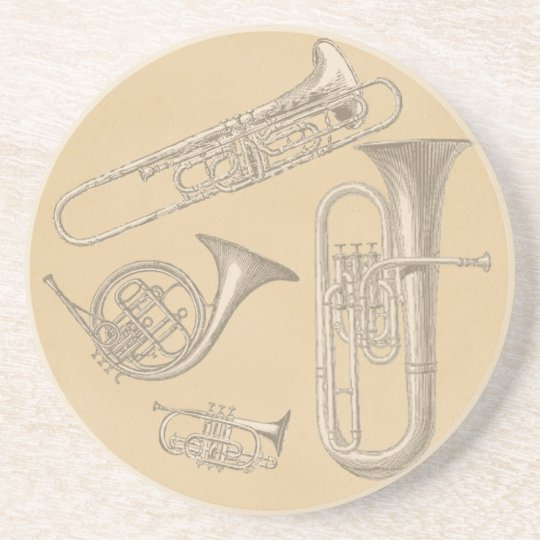 Brass Instruments Vintage Drawings Coaster