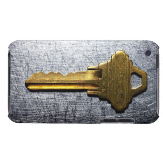 Brass key on stainless steel iPod Case-Mate case
