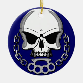 Brass knuckles skull christmas tree ornaments