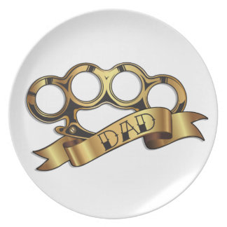Brass Knuckles Tattoo DAD Banner Dining Plate