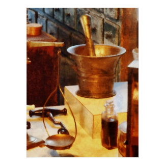 Brass Mortar and Pestle Posters