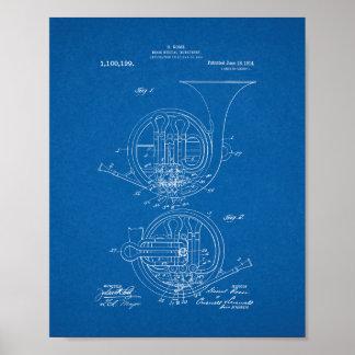 Brass Musical Instrument Patent - Blueprint Poster