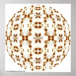 Brass Pierced Circuits Kaleidoscope Mandala Poster