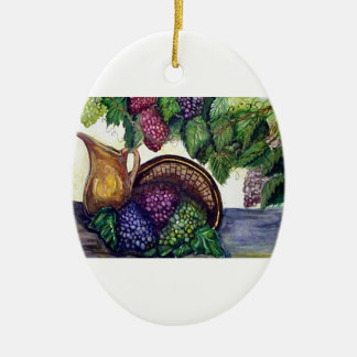 Brass Pitcher & Grapes watercolor art Ceramic Oval Decoration
