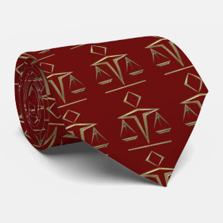 Brass Scales of Justice on Rosewood Red Tie