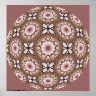 Brass Shields Kaleidoscope Mandala Print
