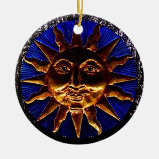 Brass Sun Plaque Round Ceramic Decoration
