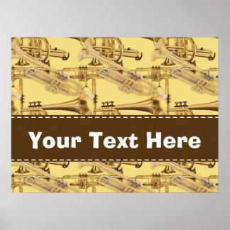 Brass Trumpet Pattern Poster