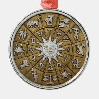 Brass Zodiac Wheel Christmas Ornament